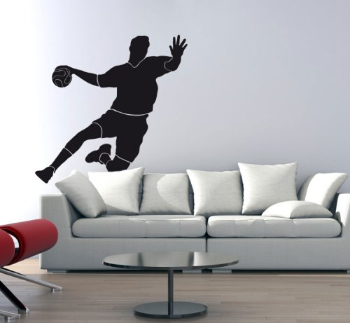 Wandtattoo Wandaufkleber Handballer Torschuss #120C schwarz 123cm x 120cm (RAL9005) VERSANDKOSTENFREI!