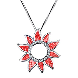 Beafavor Charming Hollow Sunflower Pendant Fire Opal Necklace Bride Engagement Charm Necklace Lovers Jewelry (Red)