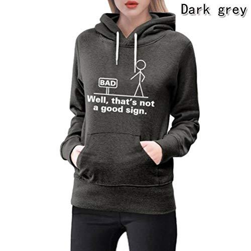 D-X Stilvoller und Einfacher, Neunfarbiger, Bequemer Damen-Pullover mit Kapuze, Dunkelgrau, m -