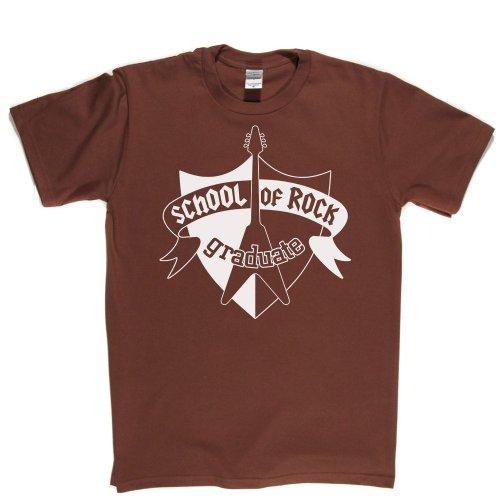School Rock Graduate Music Slogan Logo Text Tee T-shirt Braun