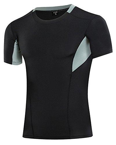 maglietta-termica-a-maniche-corte-strato-base-maglia-di-compressione-da-uomo-nero-grigio-s