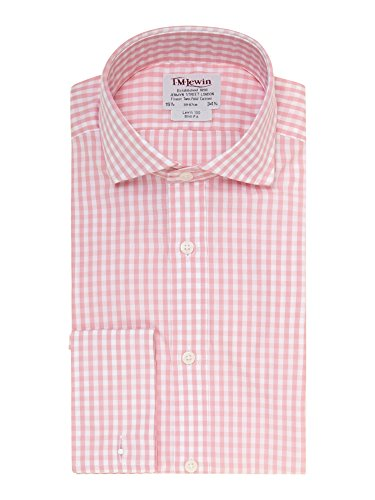 tmlewin-chemise-casual-a-carreaux-col-chemise-italien-manches-longues-homme-rose-rose
