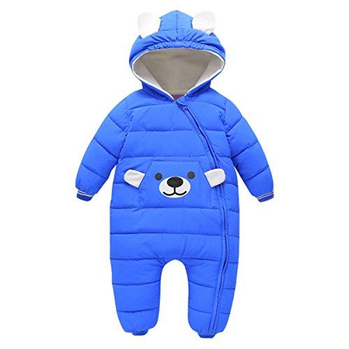 Bebone Baby Schneeanzug Jungen Strampler Mädchen Overall Winter Babykleidung (9-12 Monate, Blau)