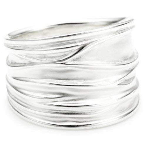 Vinani Ring breit Struktur sandgestrahlt glänzend Sterling Silber 925 Größe 62 (19.7) RBM62
