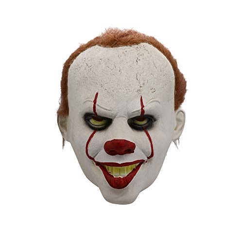 TRUBUY Pennywise Kostüm Clown Maske Cosplay Scary Vollgesichtsmaske Latex Halloween Gesichtsmaske Realistische Party Horror (Scary Kostüm Zu Machen)