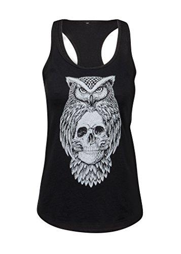 Schwarzes Eule und Totenkopf Skull Damen T-Shirt Top - Gr. XL