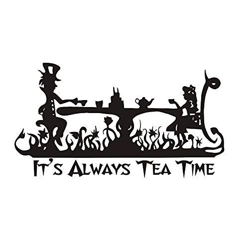 Wandtattoo Schlafzimmer Kunst es ist immer tee zeit kinderzimmer dekor alice im wunderland wandbild mad hatter tea party für kinderzimmer kinderzimmer (Party-zeit Ist Es)
