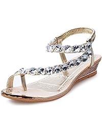 Tomsent Mujer 2017 Verano Nuevo Bohemia Sandalias Diamante De Imitación Chanclas Con Cuentas Cuña Zapatos Clip Toe Zapatillas Dorado EU 37