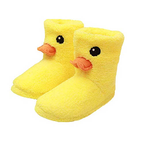 Cute Duck Winter Warm Slippers High Boots Plush Slippers for Women