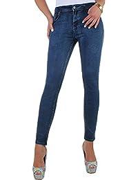 BD Stretch Jeans Damen Hose High Waist Hochschnitt Röhrenjeans blau