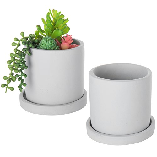 MyGift Beton 4-Zoll Mini Sukkulente Pflanzgefäß Töpfe mit Abtropfschale, Set von 2 (Zoll Keramik-töpfe Für Die Pflanzen 4)
