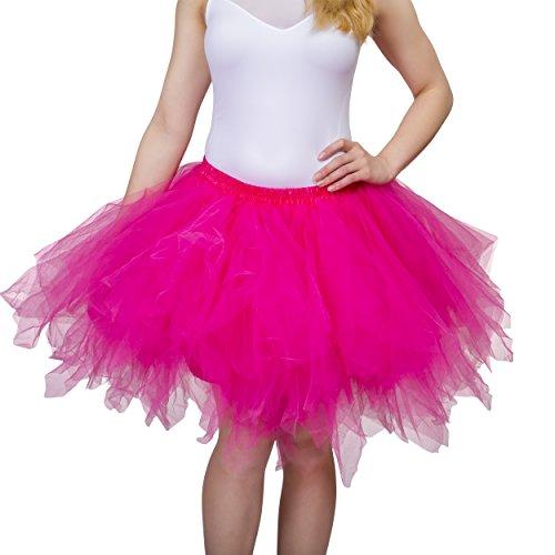 Ballerina Teenager Kostüm - Dancina Damen Petticoat 50er Jahre Vintage Tutu Tüllrock [Sticker XXL] Pink Gr. 42-46