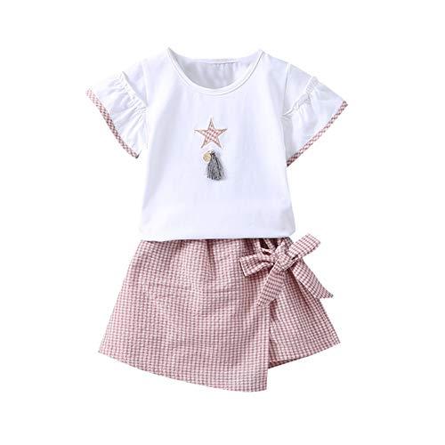 Kleines Mädchen Skort und Shirt Sommer Baby Kleidung Set Fly Sleeve T-Shirt Top und Plaid Rock 2 Stück Outfit - Plaid Skort Rock