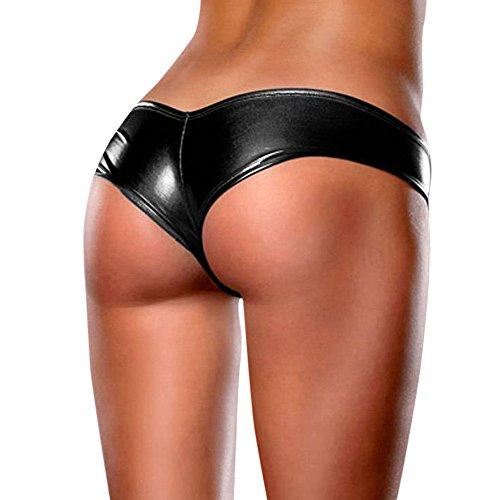 TIFIY Frauen Sexy Glossy Bare Imitation PU Leder Unterhosen Dessous Dame Höschen Bikini Strings Unterwäsche (Freie Größe, Schwarz) (Low-rise-schwangerschafts-hosen)