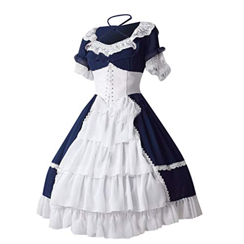 Binggong Kleid Damen Gothic Spitzenkleid Vintage Mittelalter Kostüm Ärmellos Minikleid