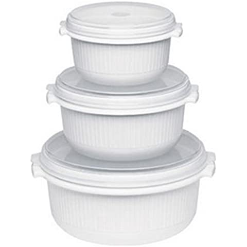 Emsa Micro Family Set per microonde per principianti, 3 pezzi (0.5 l, 1 l, 1.5 l), Bianco