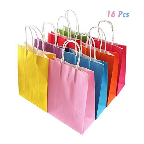 JINMURY 16 Stück Party Papiertüten Kraft Tasche mit Griffen 8 Farben Party Supplies, Hochzeit, Feiern