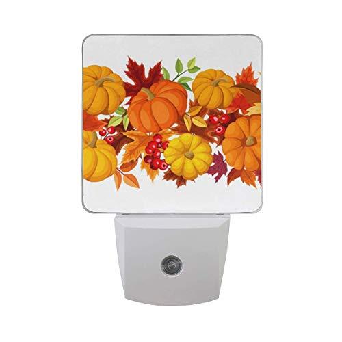 DFISKK Nachtlicht Halloween Jack-O-Lantern Leaf Plug in LED Night Light, Desk Lamp, Dusk to Dawn Sensor, Great for Bedroom, Bathroom, Hallway, Stairways, or Any Dark Room (Jack O Lantern Lights)