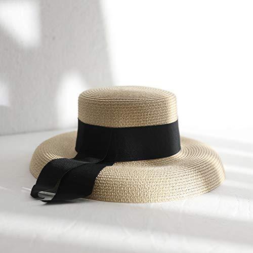 ENTO Hierba Sombrero Femenino Elegante Arco Verano Playa Playa Vacaciones Visera Pantalla...