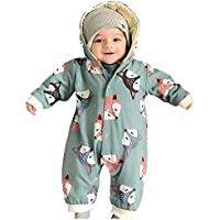 uBabamama Autumn Sale!!! Cartoon Animal Printed Jumpsuit for 0-18 Months Newborn Baby Boy Girl Winter Hooded Romper Warm Coat Outwear(Green,Recommended Age:12-18 Months/80)