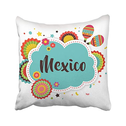 wenyige8216 Colorful Pinata Mexican Fiesta and Design with Flags Mexico Carnival Birthday Celebration Throw Pillow Case Cushion Covers 18x18