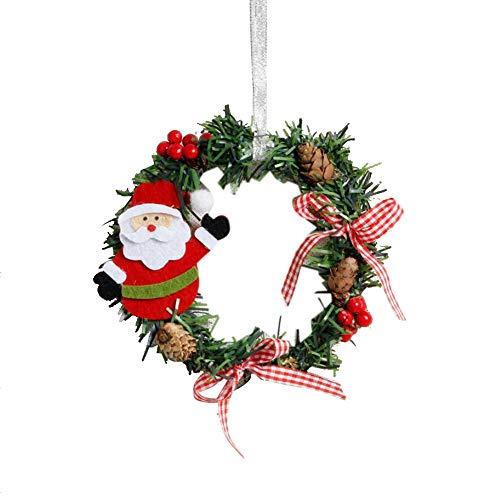 BESSKY Mini Christmas Wreath Decor Wall Door Ornament Garland Xmas Party Decor Weihnachtsdekoration aus PVC kleiner Kranz für ältere Menschen A -