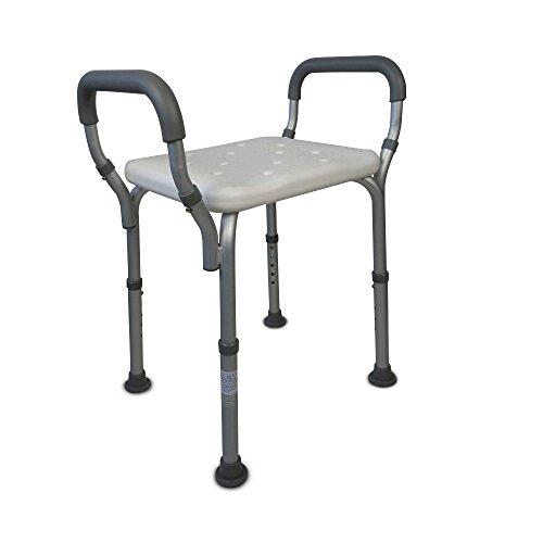 Mobiclinic Silla de Ducha/baño | Taburete Regulable en Altura | Cómodos reposabrazos Acolchados y conteras andtideslizantes | Peso máximo soportado 135 Kg | Modelo Acueducto