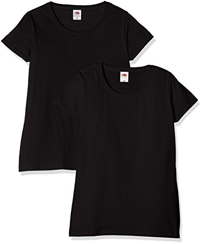 Fruit of the loom ladies valueweight t, top donna, nero (black), l