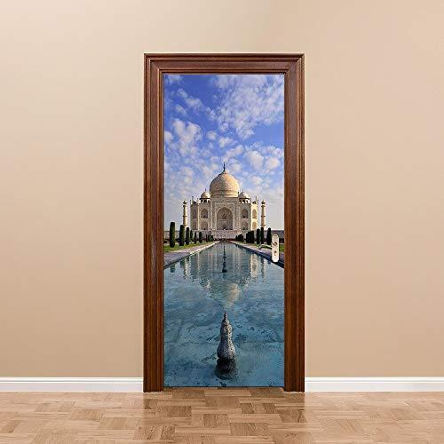 kleber DIY Wandbild Poster Indien Taj Mahal PVC wasserdichte Tür Aufkleber Nachahmung 3D Vinyl Aufkleber Decor 77 * 200 cm 200 * 77 cm ()