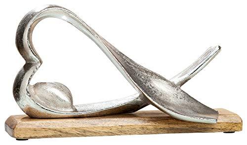 Moderne Ausdrücke Beistelltisch (GILDE Alu Herz liegend - handgefertigt in silber auf Mangoholz H 17 cm B 30 cm)