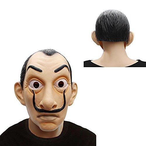Preisvergleich Produktbild MIMINUO Dali Mask Head Mask Salvador Dali Latex Mask La Casa De Papel Mascara Realistic Prop Face Mask Novelty Cosplay Costume Party Mask