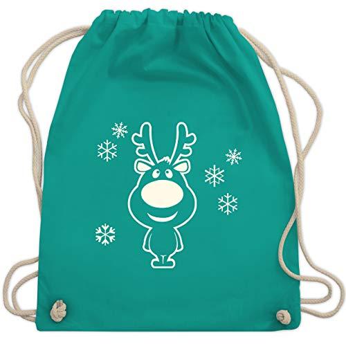 Weihnachten & Silvester - Rentier Schneeflocken - Unisize - Türkis - WM110 - Turnbeutel & Gym Bag