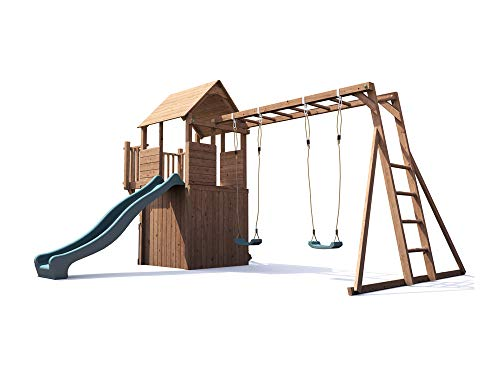 Wooden Playhouse Climbing Frame Childrens Outdoor Play Tower Monkey Bar Swing Set Club House - Dunster House® BalconyFort™ Searcher