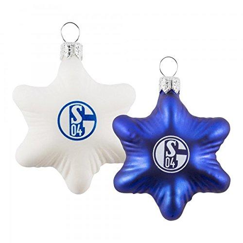 FC Schalke 04 2er Set Glas-Sterne Weihnachts-Kugeln Baum-Schmuck 5