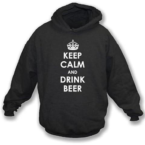 Tenga calmo e beva la maglietta felpata incappucciata grande, il colore - il nero della birra