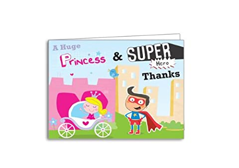Children's Thank You Cards Princess & Superhero Party 20 Pack