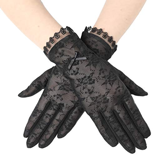 ArtiDeco Damen Lace Handschuhe Satin Braut Hochzeit Spitze Handschuhe Opera Fest Party Handschuhe 1920s Handschuhe Damen Kostüm Accessoires (Kurz Bogen Schwarz) (Schwarz Spitze Kostüm)