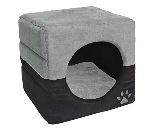 Dehner Katzen- und Hundehöhle Luca 2in1, ca. 35 x 35 x 35 cm, Polyester, grau