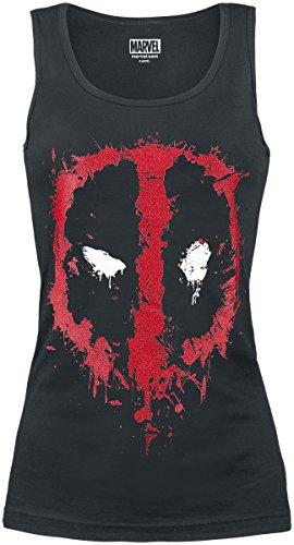 Deadpool Splatter Logo Girl-Top Schwarz M
