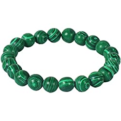 Jewelswonder Certified 8mm Beads Green Malachite Gemstone Bracelet (NW193_1)