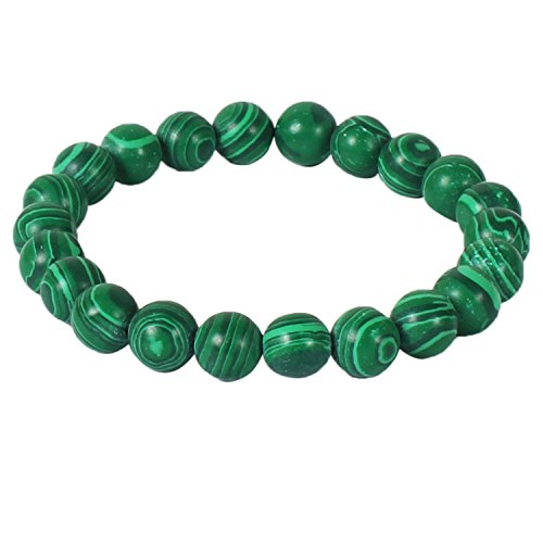 Jewelswonder Certified 8mm Beads Green Malachite Gemstone Bracelet