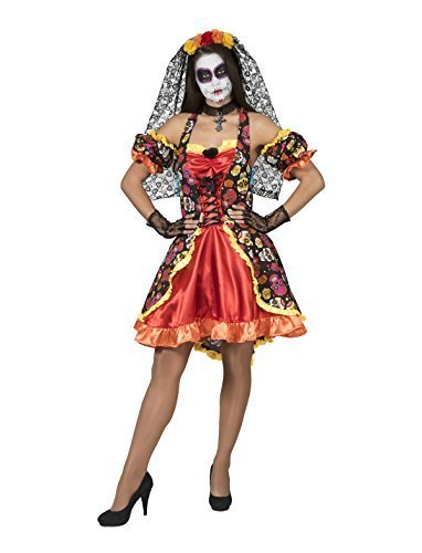 Los De Kostüm Muertos Frau Dia (Kostüm Kleid La Catrina Damenkostüm Größe 40/42 Tag der Toten, Orange, Dia de los Muertos, Halloween Karneval Fasching)