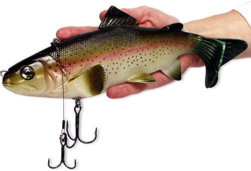 XXL Raubfischköder extrem realistische Regenbogenforelle, beweglich Drillinge Haken Angeln Fischen Spinning - 25 cm