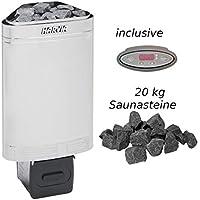 inkl Au/ßenmantel Edelstahl WelaSol/® Saunaofen Nordex 8kW mit integrierter Steuerung WelaSol Oivin Diabas Saunasteine