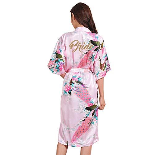 MAOMEI Dünne Seide Brautkleid, Damen Lange Bedruckte Hochzeit Kandierte Strickjacke, Nachthemd, Bademantel Pink XL -