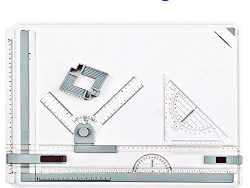 A3Zeichenbrett, ntens 50x 36,5cm Multifunktions-College Schule Metrisches A3Zeichenbrett Set Zeichenmappe Tisch mit Parallelführung und Winkel einstellbar