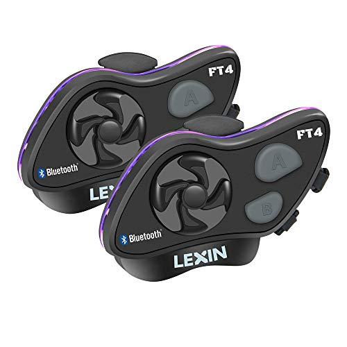 LEXIN FT4 2X Motorrad Intercom, Headset Bluetooth Helm Gegensprechanlage bis zu 4 Fahrer Kommunikation Geräuschunterdrückung Reichweite von 2000 Metern mit FM, Siri, S-Voice für Fahrrad Bike Bluetooth