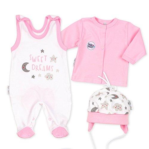 Baby Sweets Baby Set Strampler + Shirt + Mütze Mädchen weiß rosa | Motiv: Sweet Dreams | Babyset 3 Teile für Neugeborene & Kleinkinder | Größe: 6 Monate (68)