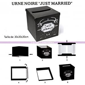Urne Carrée en carton noir et impression Just Married, 30 x 30 x 30 cm à déplier