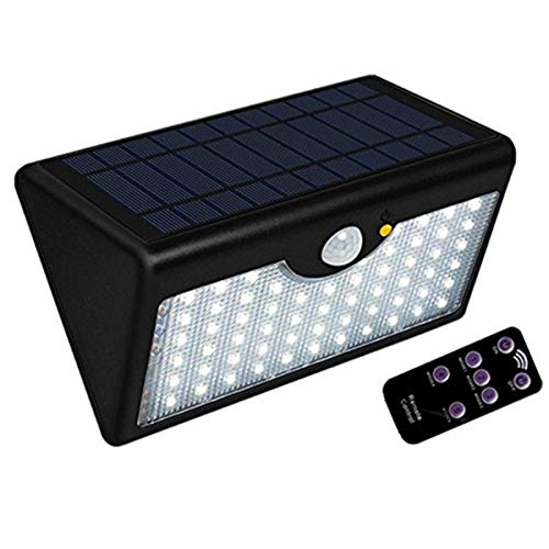 PluieSoleil Solar-Wandleuchte, PLUIESOELIL 1300 Lumen 60 LED Super helle Wireless PIR Bewegungs-Sensor-Wand-Licht IP65 Wasserdichte angetriebene für Patio, Garten, Pathway Veranda (schwarz)